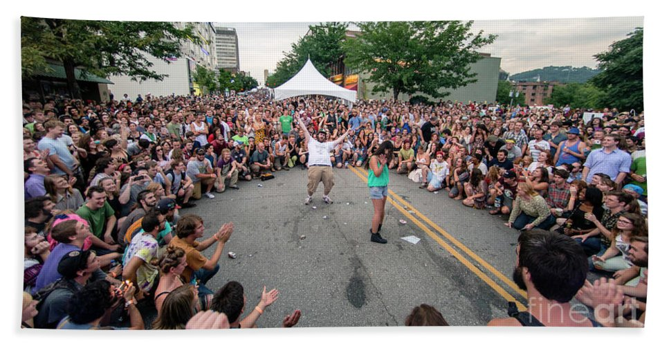 Asheville Beach Towel featuring the photograph Crowd At Bele Chere Festival by David Oppenheimer