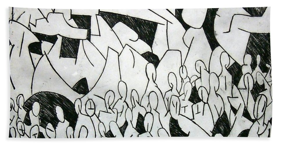 Etching Beach Towel featuring the print Crowd by Thomas Valentine