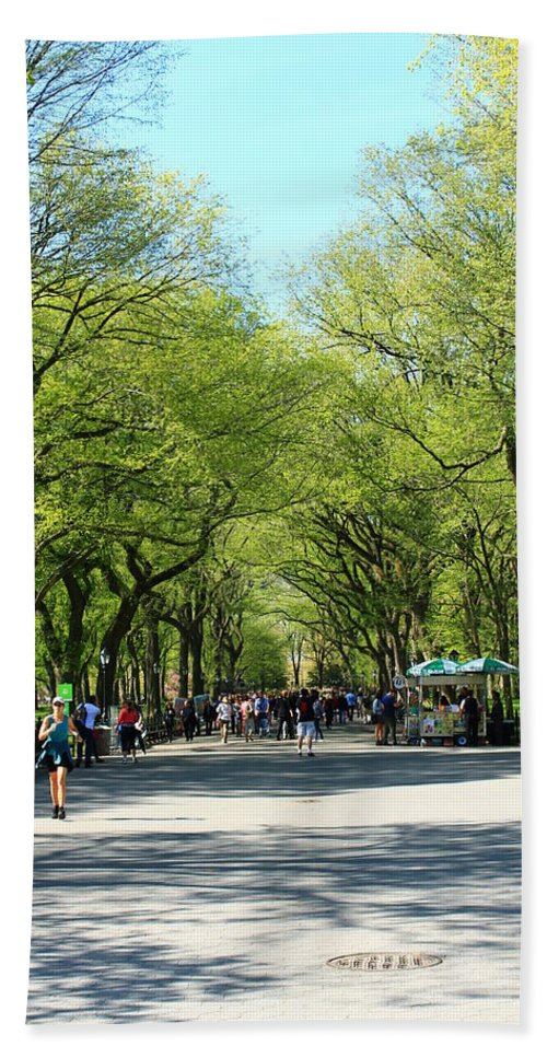 Central Park Beach Towel featuring the photograph Crowded Spring Morning by Catie Canetti