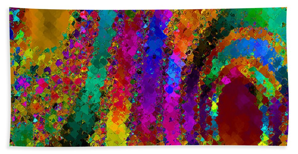 Abstract Beach Towel featuring the digital art Crown Jewels by Ruth Palmer
