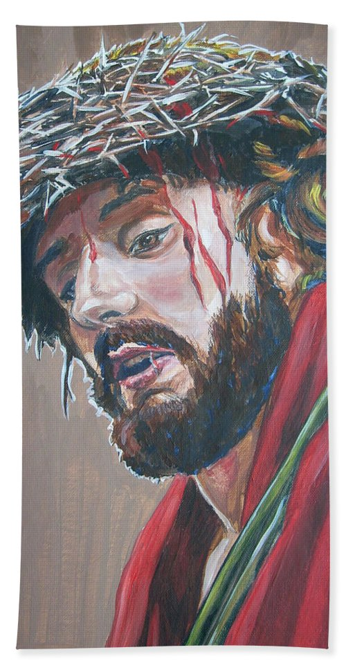 Jesus Christ Beach Towel featuring the painting Crown Of Thorns by Bryan Bustard
