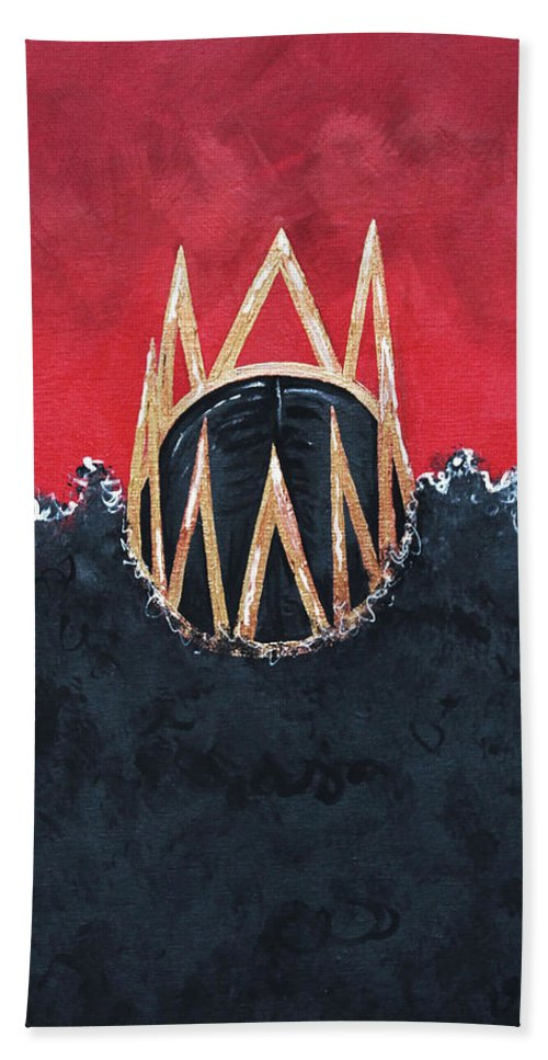 Aliya Michelle Beach Sheet featuring the painting Crowned Royal by Aliya Michelle