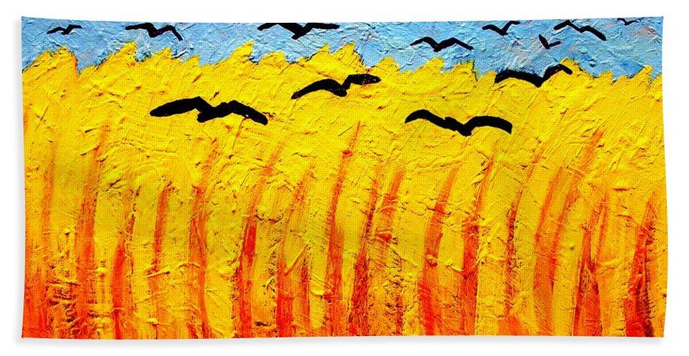 Vincent Van Gogh Beach Towel featuring the painting Crows Over Vincent's Field by John Nolan