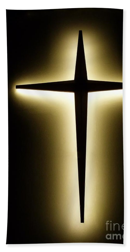 Backlit Cross Beach Towel featuring the photograph Crucifix by Amar Sheow