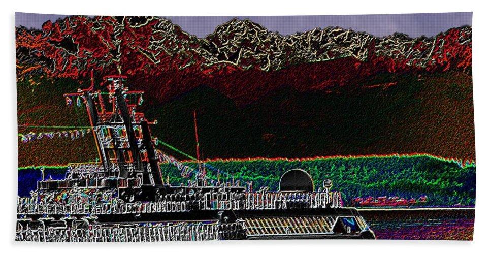 Seattle Beach Towel featuring the digital art Cruising Puget Sound by Tim Allen