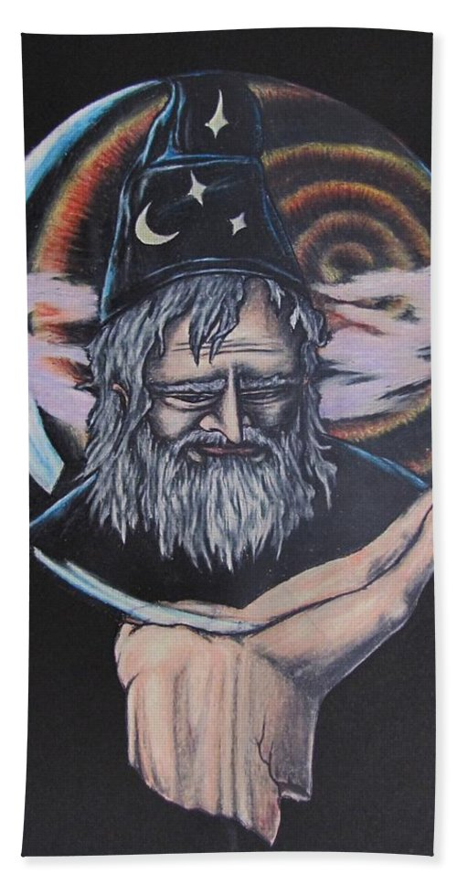 Michael Finney Beach Towel featuring the drawing Crystal Wizard by Michael TMAD Finney