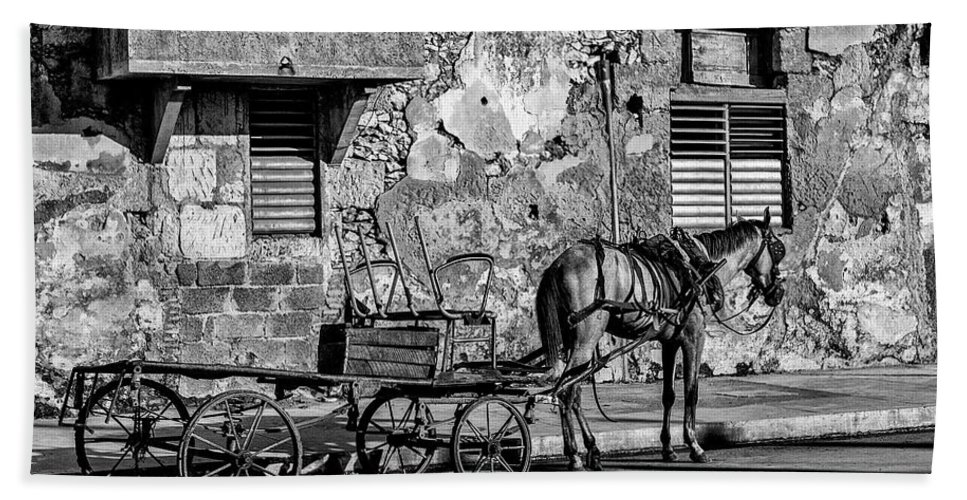 Cuban Horse Power; Cuban; Horse; Power; Horse And Carriage; Carriage; Hp; Cuba; Photography & Digital Art; Photography; Photo; Photo Art; Art; Digital Art; 2bhappy4ever; 2bhappy4ever.com; 2bhappy4evercom; Tobehappyforever; Beach Towel featuring the photograph Cuban Horse Power BW by Erron