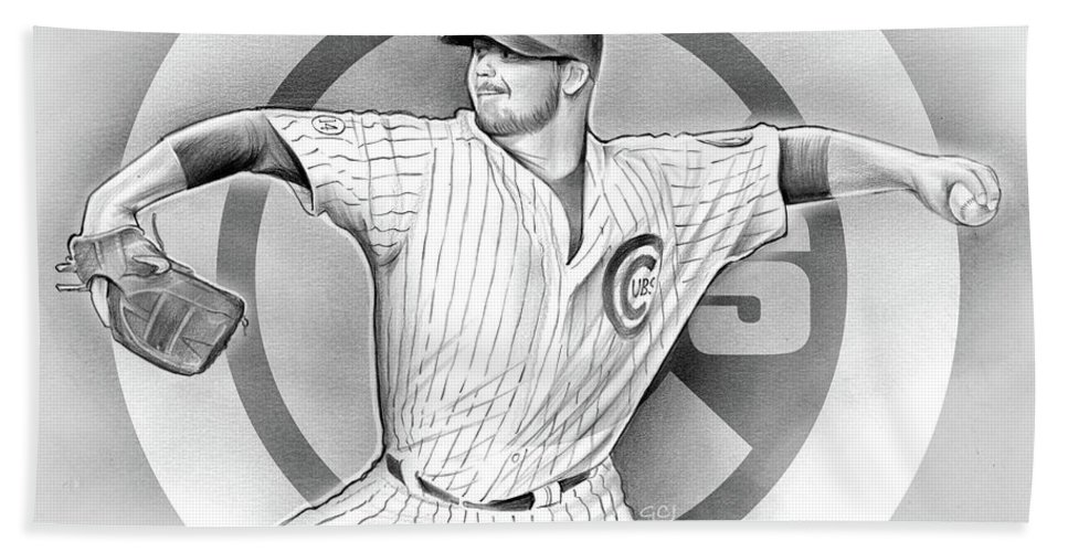 2016 Beach Towel featuring the drawing Cubs 2016 by Greg Joens