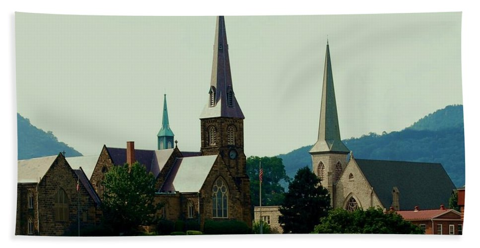 Church Steeples Beach Towel featuring the photograph Cumberand Steeples by Eric Liller