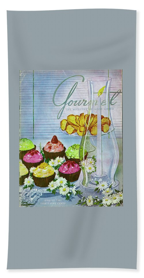 Illustration Beach Towel featuring the photograph Cupcakes And Gaufrettes Beside A Candle by Henry Stahlhut