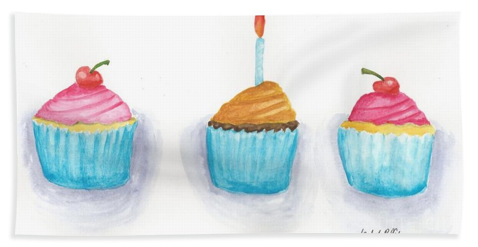 Watercolour Beach Towel featuring the painting Cupcakes? by Isabel Proffit