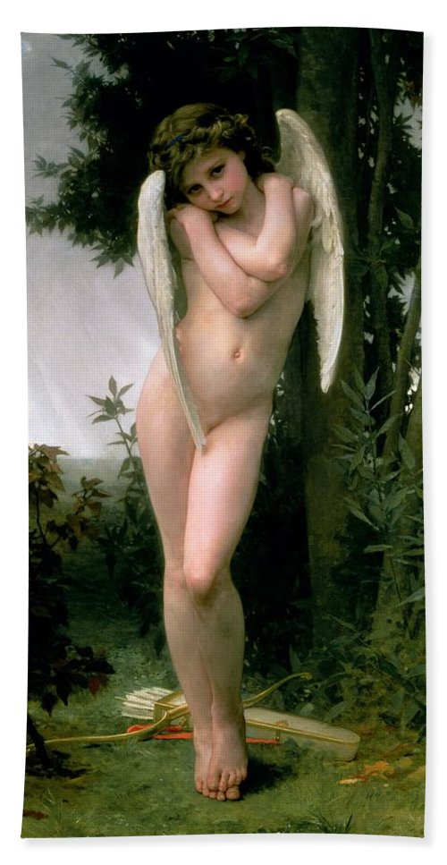 William Adolphe Bouguereau Beach Towel featuring the painting Cupidon by William Adolphe Bouguereau