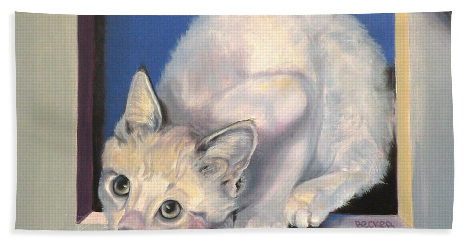 Cat Greeting Card Beach Towel featuring the painting Curiosity by Susan A Becker