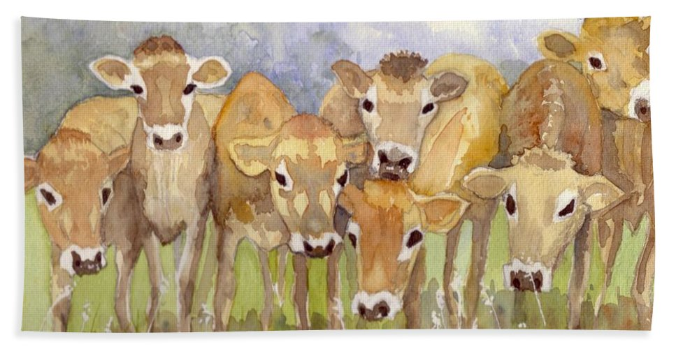 Calves Beach Towel featuring the painting Curious Calves by Christine Burn