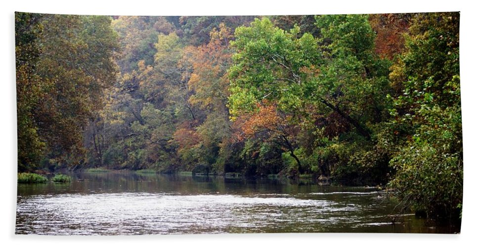 Current River Beach Towel featuring the photograph Current River Fall by Marty Koch
