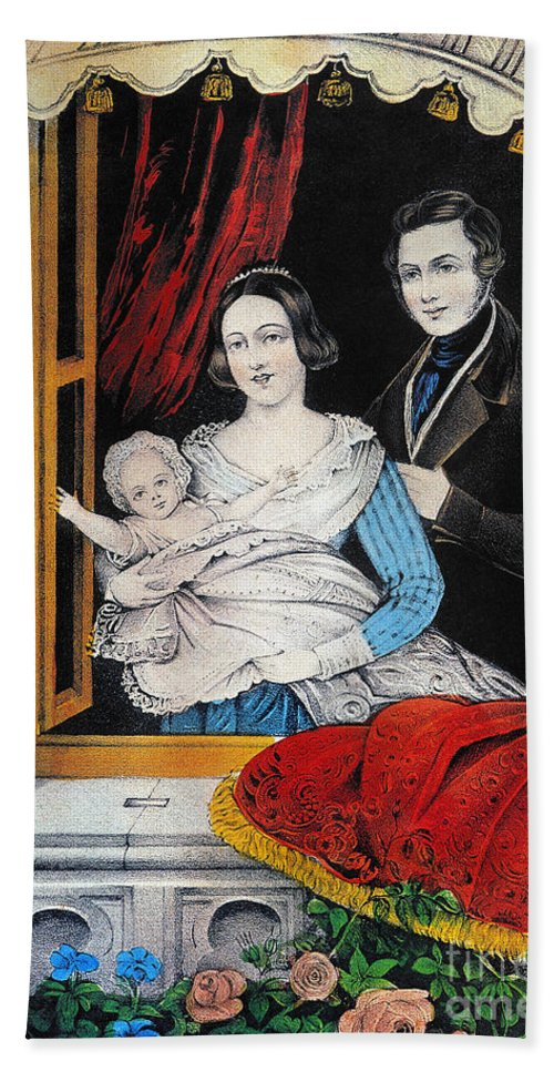 1848 Beach Towel featuring the photograph Currier: Marriage, 1848 by Granger