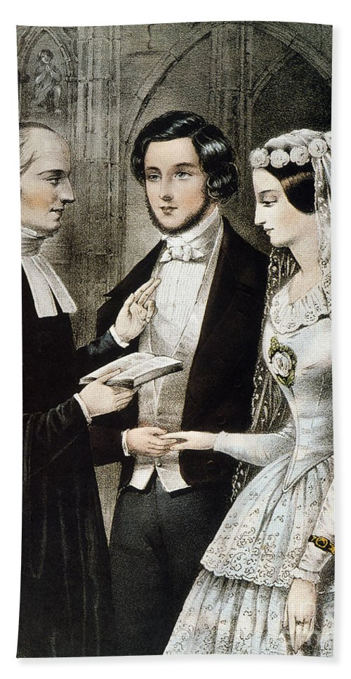 1847 Beach Towel featuring the photograph Currier: The Marriage by Granger