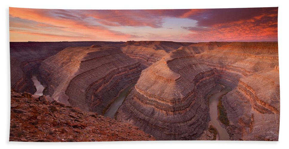 Canyon Beach Towel featuring the photograph Curves Ahead by Mike Dawson