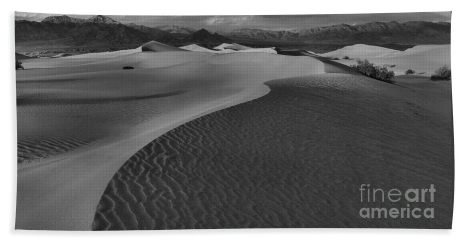 Black And White Beach Towel featuring the photograph Curves Into The Night by Adam Jewell