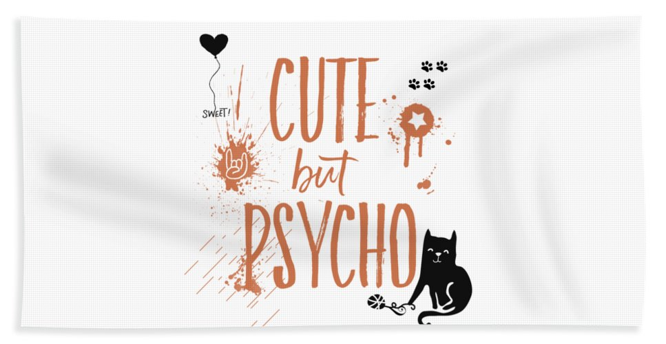 Abstract Beach Towel featuring the digital art Cute But Psycho Cat by Melanie Viola