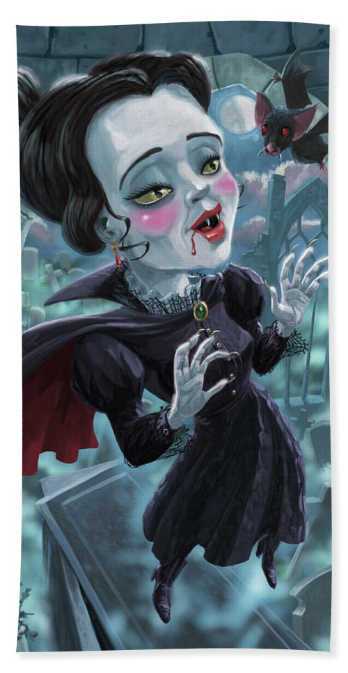 Vampire Beach Towel featuring the digital art Cute Gothic Horror Vampire Woman by Martin Davey