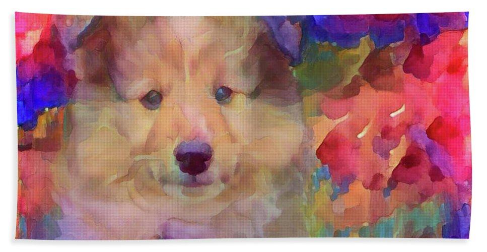Cute Puppy Beach Towel featuring the mixed media Cute Puppy by Lilia D