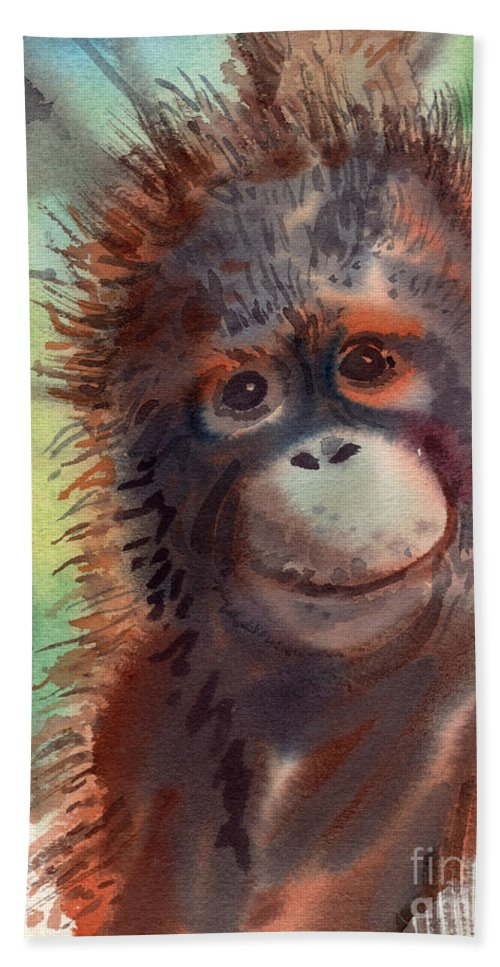 Orangutans Beach Towel featuring the painting My Precious by Donald Maier