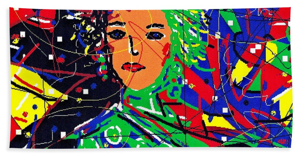 Woman Beach Towel featuring the digital art Cyberspace Goddess by Natalie Holland