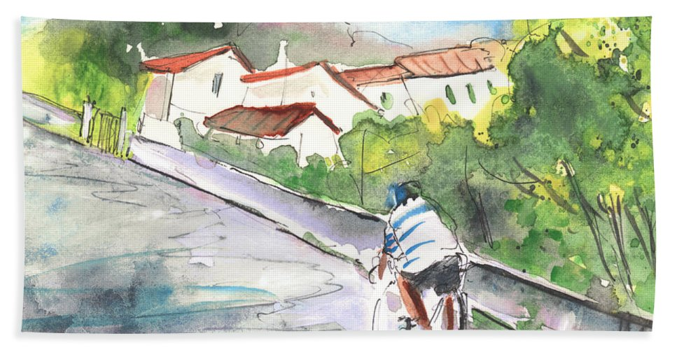 Italy Beach Towel featuring the painting Cycling In Italy 01 by Miki De Goodaboom