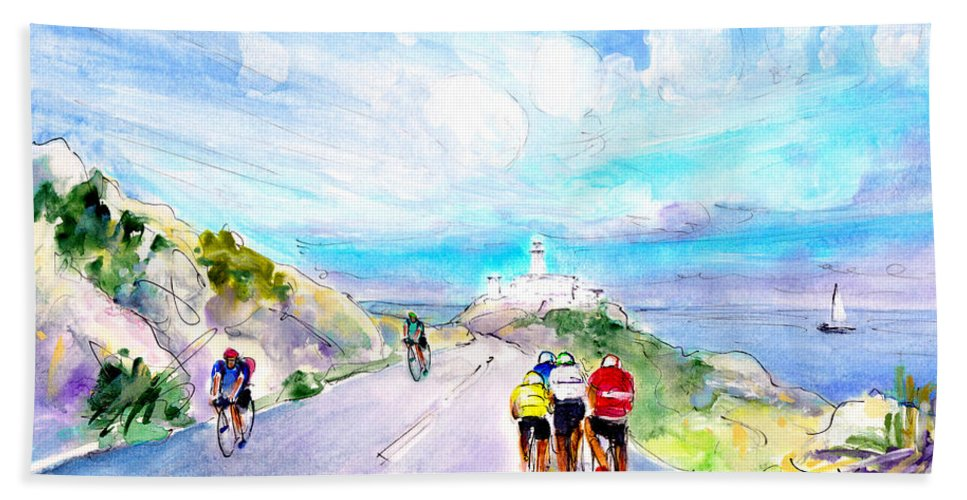Travel Beach Towel featuring the painting Cycling In Majorca 02 by Miki De Goodaboom