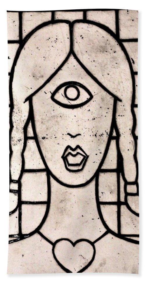 Clay Beach Towel featuring the painting Cyclops by Thomas Valentine