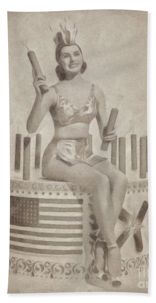 Hollywood Beach Sheet featuring the drawing Cyd Charisse Hollywood Actress, Pinup And Dancer by John Springfield