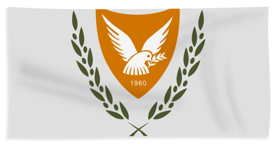 Cyprus Beach Towel featuring the drawing Cyprus Coat Of Arms by Movie Poster Prints