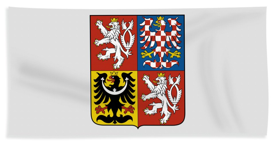 Czech Republic Beach Towel featuring the drawing Czech Republic Coat Of Arms by Movie Poster Prints