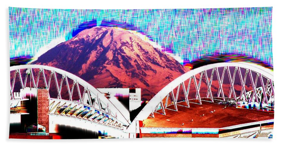 Seattle Beach Towel featuring the photograph Da Mountain And Stadia 2 by Tim Allen