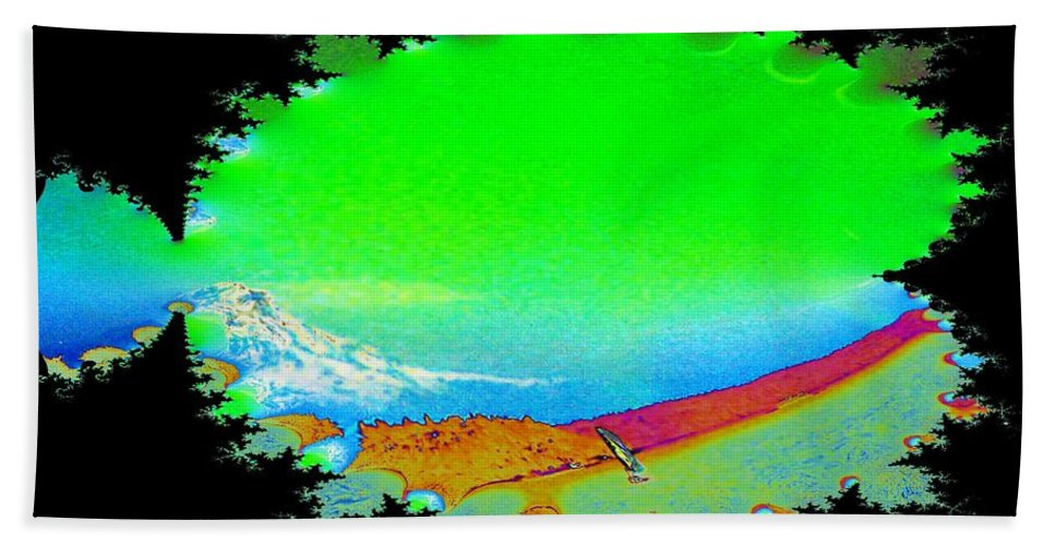 Washington Beach Sheet featuring the digital art Da Mountain Sail In Fractal by Tim Allen