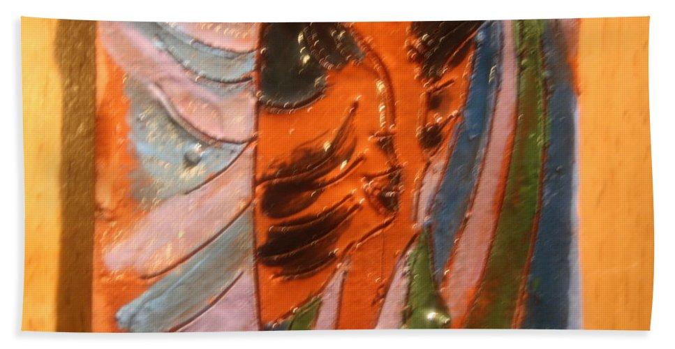 Jesus Beach Towel featuring the ceramic art Dads Boy - Tile by Gloria Ssali