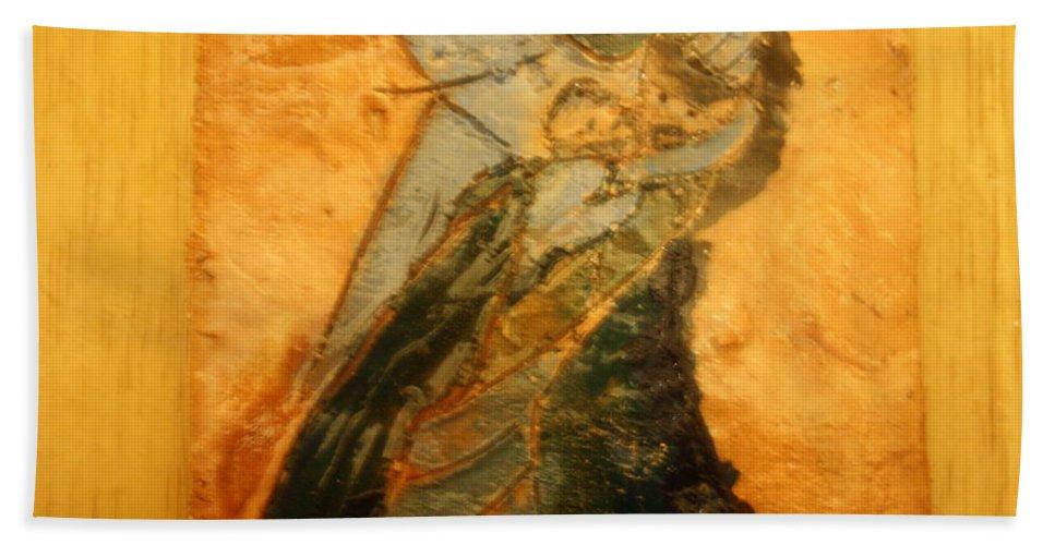 Jesus Beach Towel featuring the ceramic art Dads Hug - Tile by Gloria Ssali