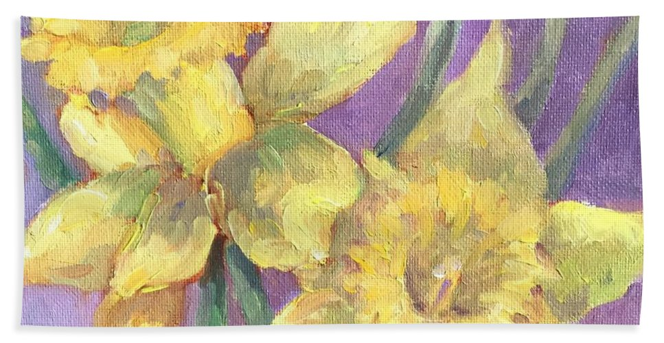 Floral Still-life Beach Towel featuring the painting Daffodils by Mary Ann Clady