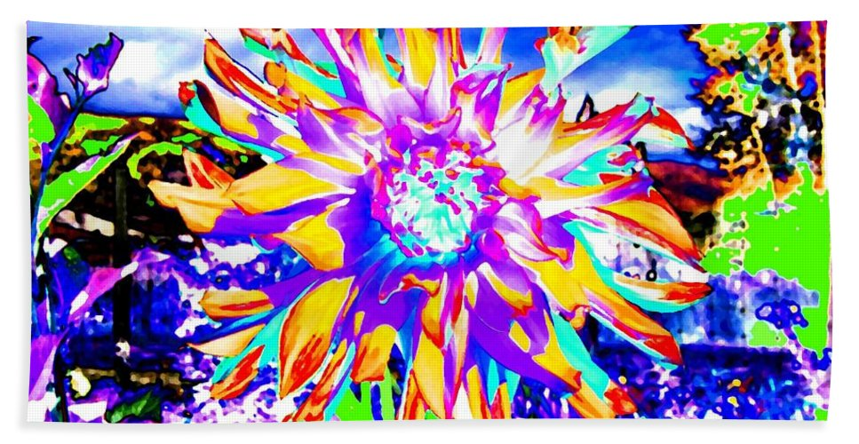 Dahlia Beach Towel featuring the digital art Dahlia Dazzle by Will Borden