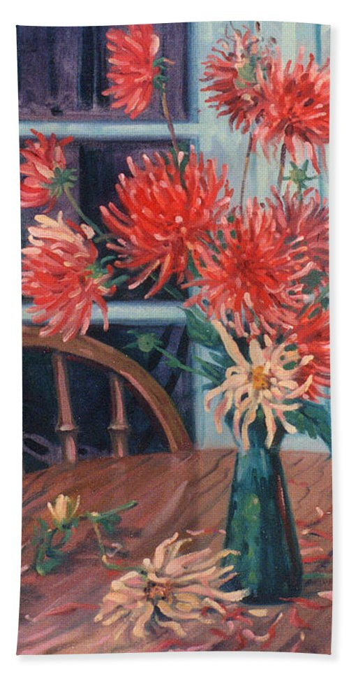 Still Life Beach Sheet featuring the painting Dahlias With Red Cup by Donald Maier