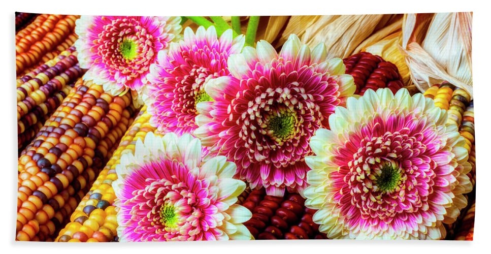 Pink Beach Towel featuring the photograph Daises On Indian Corn by Garry Gay