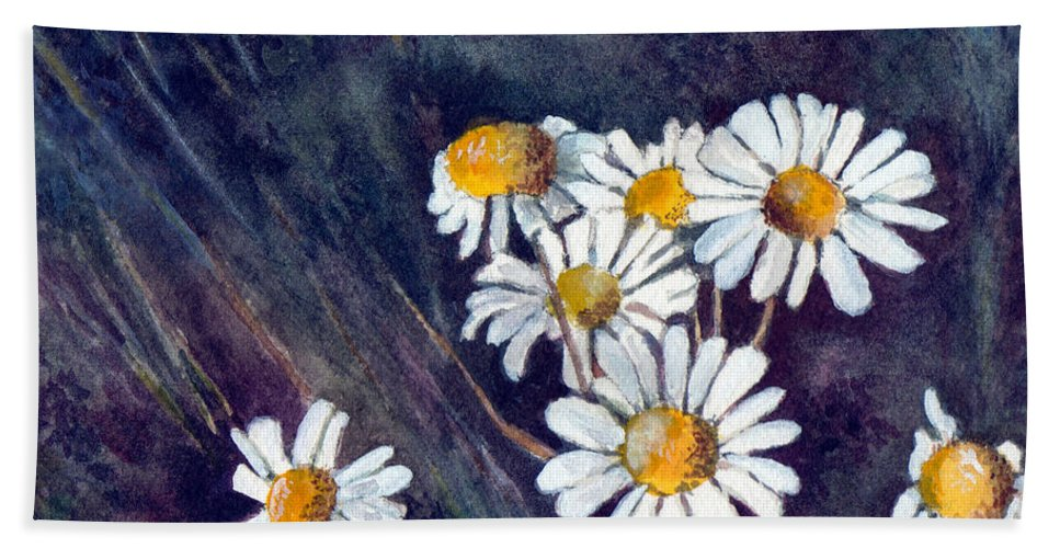 Watercolor Still Life Daisies Flowers Floral Beach Towel featuring the painting Daisies by Brenda Owen