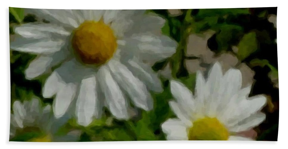 Daisy Beach Towel featuring the digital art Daisies By The Number by Anita Burgermeister