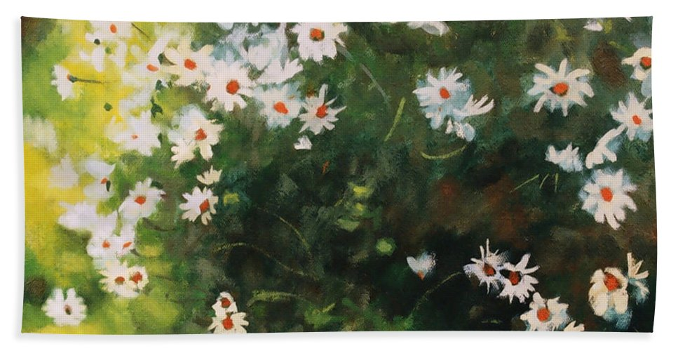 Daisies Beach Towel featuring the painting Daisies by Iliyan Bozhanov