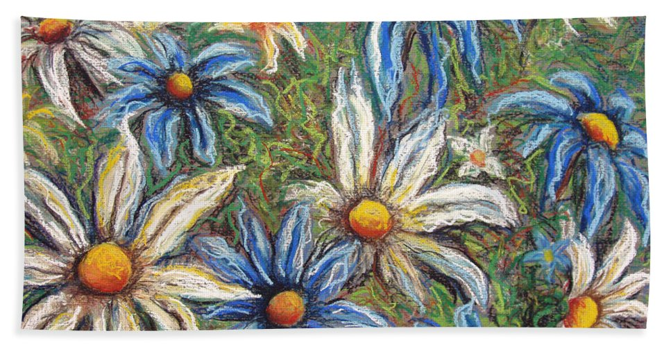 Daisies Beach Towel featuring the pastel Daisies Pastel by Nancy Mueller