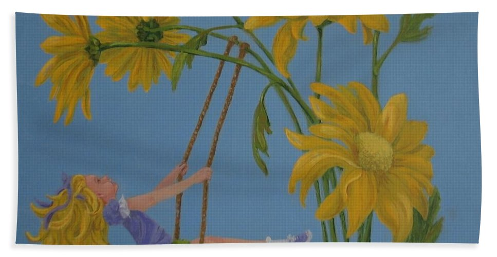 Swinging Beach Towel featuring the painting Daisy Days by Karen Ilari