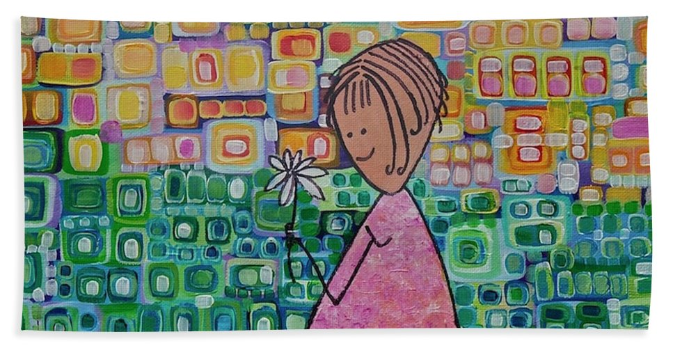 Daisy Beach Towel featuring the painting Daisy by Donna Howard