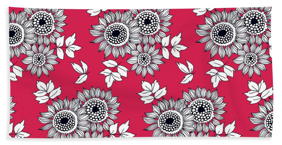 Background Beach Towel featuring the digital art Daisy Flower Bouquet by Katerina Kirilova