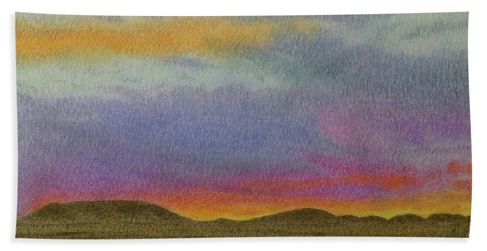 North Dakota Beach Towel featuring the pastel Dakota Sunset Glow by Cris Fulton